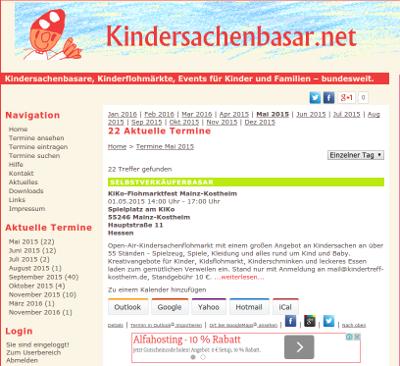 Desktop-Ansicht kindersachenbasar.net